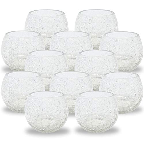 Just Artifacts Decorative Round 2.75-Inch Crackled Clear Votive (12pc) -Mercury Glass Votive Tealight Candle Holders for Weddings, Parties and Home Décor