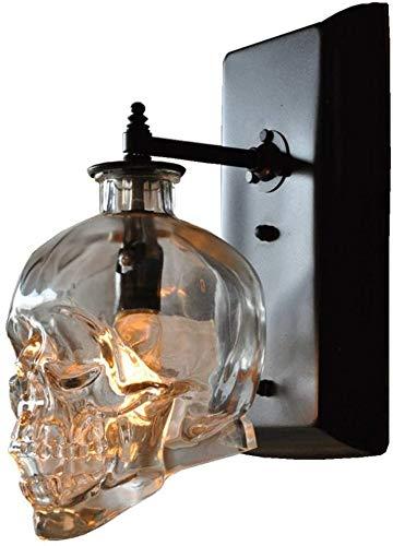 WENXU Wall Lamp Creativity Humanity Skull Design Night Light,Transparent Glass Corridor Stairs Bar Restaurant Billiard Hall Decoration Bracket Light/Black / 13×18cm