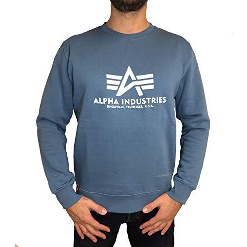 ALPHA INDUSTRIES Herren Sweater Basic Logo Airforce Blue (XXL)