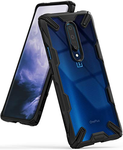 Ringke Fusion-X Designed for OnePlus 7 Pro Case Back Cover Ergonomic Transparent [Military Drop Tested Defense] PC Back TPU Bumper Impact Resistant Protection Shock Absorption Technology Cover - Black