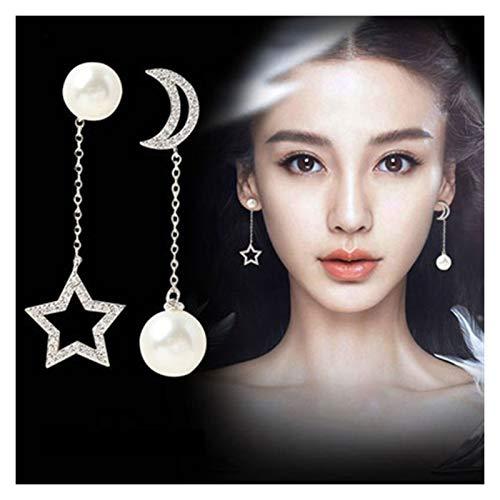 SSN Korean Tide Temperament Pearl Zircon Long Tassel Ear Line Hypoallergenic Female Simple Earrings Fashion Earrings (Color : A)