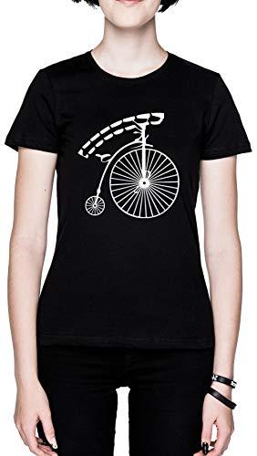 Antiguo Colegio Bicicleta Negro Mujer Camiseta Tamaño M Black Women