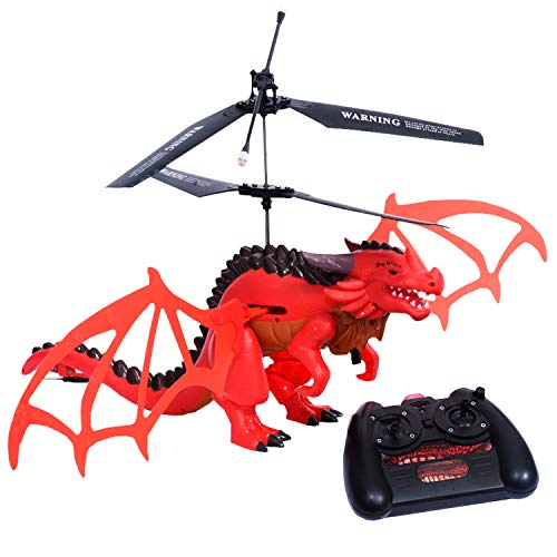 YARMOSHI Flying Dragon with Remote Control. Wings Realistically Flap While in Flight. Robotic, Fantasy Play. Easy to Use Fun Gift for Boys and Girls Kids Age 6+