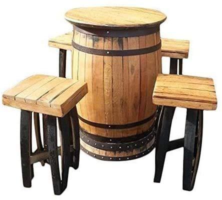 Cheeky Chicks handgemaakte ronde vat massief eikenhouten drankjes tafel & 4 kruk set fustmeubels