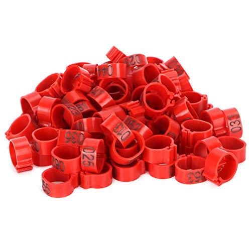100 unids/Bolsa Anillo de identificación de Palomas 001-100 Anillo de Pierna de Aves de Corral numerado Bandas de Pierna de pájaro Anillo de pie(10mm Red with Word Ring)