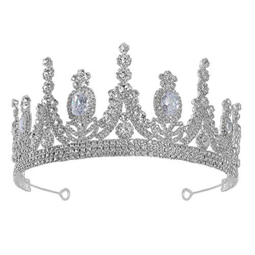 Lurrose Corona de Boda Tiara de Cristal Corona de Diamantes de Imitación...