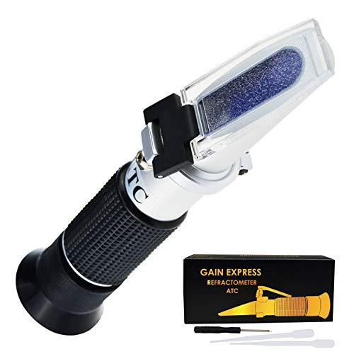 GAIN EXPRESS Handheld Wein Alkohol Refraktometer mit ATC Dual Scale Brix 0-40% 0-25% VOL Optische Tester für Traubenwein Winemakers Homebrew Werkzeug