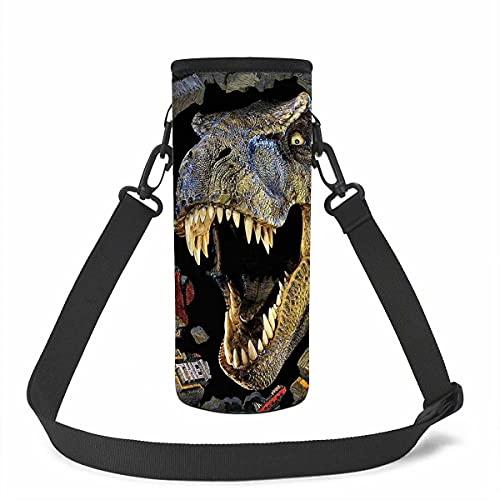 KUIFORTI Bolsa para botella de agua para adultos y niños, con estampado de dinosaurios de animales, bolsa de neopreno con correa ajustable para el hombro