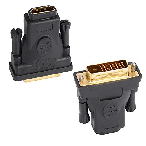 J&D Adaptador DVI a HDMI, 2 Paquetes Chapado en Oro DVI (DVI-D) Macho a HDMI Hembra Adapter Convertidor, Bidireccional Soporte 3D 4K ARC Ethernet