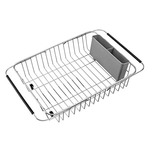 iPEGTOP Expandable Dish Drying Rack with Grey Cutlery Utensil Holder, Kitchen In Sink, On Counter, Or Over the Sink Dish Drainer, Rustproof Stainless Steel