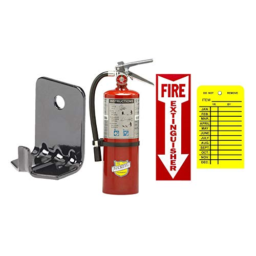 5Lb ABC Fire Extinguisher Buckeye Class ABC Dry Chemical Fire Extinguisher with Wall Bracket, Sign and Inspection Tag