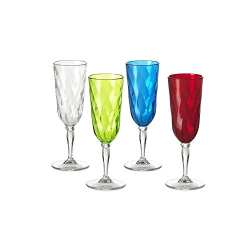 Omada Design Satz 4 Gläser Chmapagner von 17,5 Cl aus Durchsichtigen und Farbigen Acryl, Ideal für Aperitifs, Spülmaschinenfest, Linea Diamond