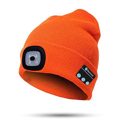 Harddo gebreide muts met LED-licht Bluetooth, verlichting LED-hoed voor mannen vrouwen outdoor wandelen oranje