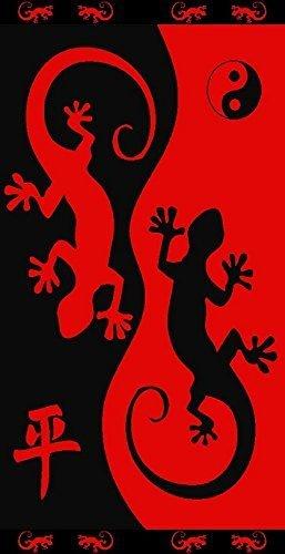 Tiendadeleggings (412C) Toalla Playa Grande Gecko (Rojo) 100% ALGODÓN Egipcio 90 X 170 CM