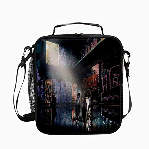Penguin Graffiti Building Premium Insulated Lunch Box Spacious Durable School Lunch Bag for Kids Boys Girls Reusable Leakproof Cooler Tote Bag with Removable Shoulder Strap for Adults Men Women