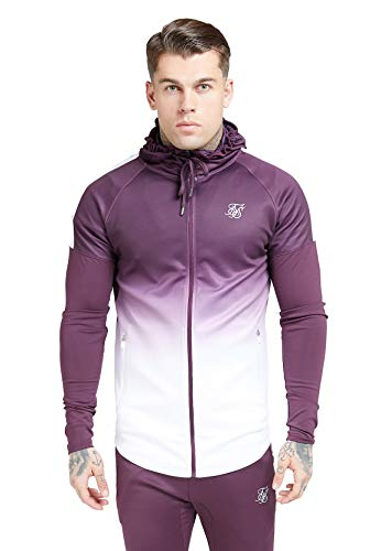 Sik Silk  Athlete Hybrid Zip Through Hoodie – Rich Burgundy Fade (XS)