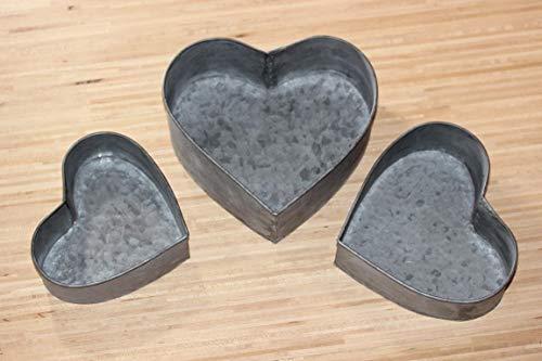 Onbekend 3-delige set in hartvorm van zink, B 15 cm, 17 cm, 19 cm