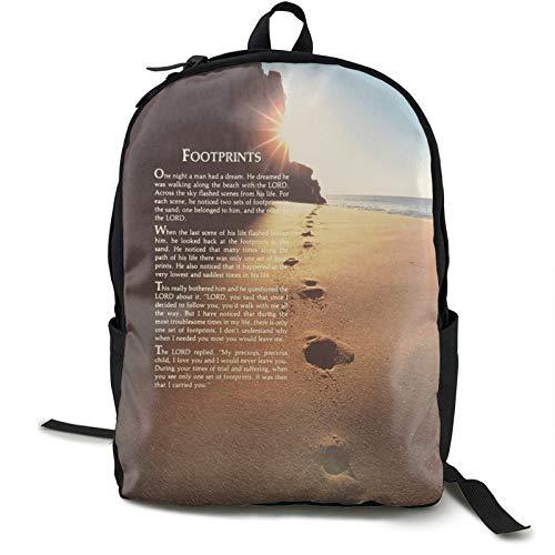 Footprints In The Sand - Mochila de doble compartimento para estudiantes de 16,5 pulgadas, apta para...