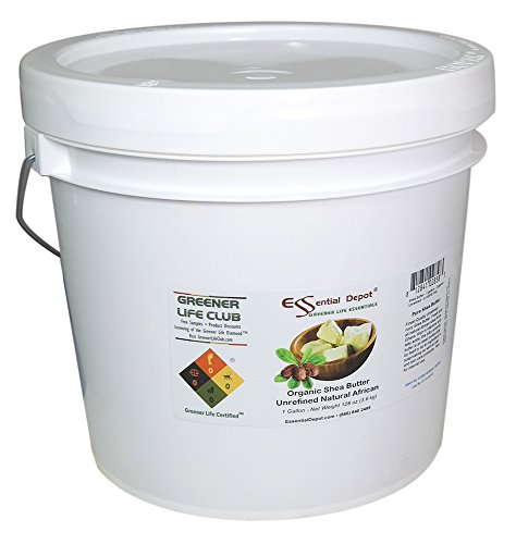 Shea Butter - Grade A - Organic - Unrefined - 8 lbs in a 1 HDPE Gallon Pail - HDPE microwavable container with resealable lid and removable handle