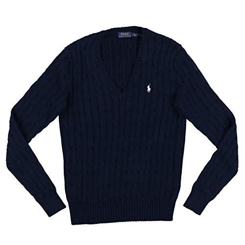 Polo Ralph Lauren Women's Cable Knit V-Neck Sweater (Large, Navy)