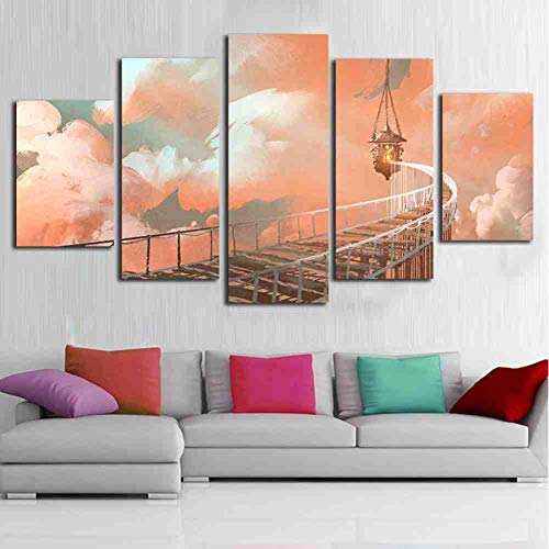 GIAOGE canvas muurkunst afbeelding moderne lijst woonkamer 5 stuks boommelende houten ladder wolken landschap decoratie Hd Print Poster Schilderij ohne gerahmt 30 x 40 30 x 60 30 x 80 cm.