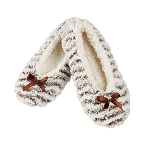 Unbekannt TRI Damen Kuschel-Ballerina Hausschuhe Pantoffeln