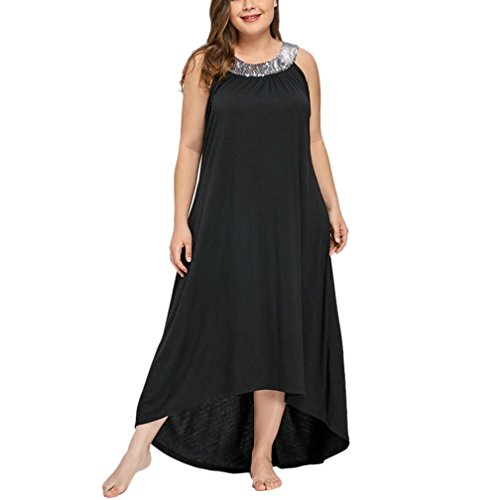 Ansenesna Kleid Damen Sommer Lang Elegant Schick Große Größen,Asymmetrisch Vintage Abendkleid Für Mollige (XXXXXL, Schwarz)
