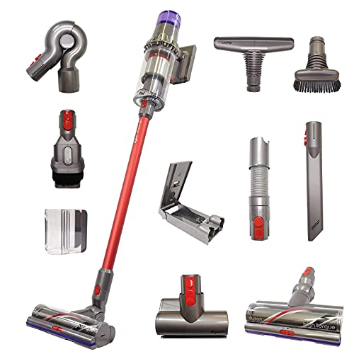 Dyson V11 Animal+ Cordless Red Wand Stick Vacuum Cleaner with 10 Tools Including High Torque Cleaner Head   Rechargeable, Cord-Free, Lightweight, Powerful Suction   Limited Red Edition (Renewed)