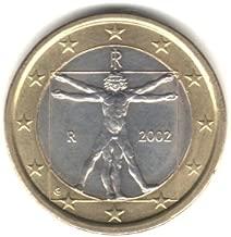 2002 Italy Bi-metallic 1 Euro Coin KM#216 - Leonardo da Vinci Vitruvian Man