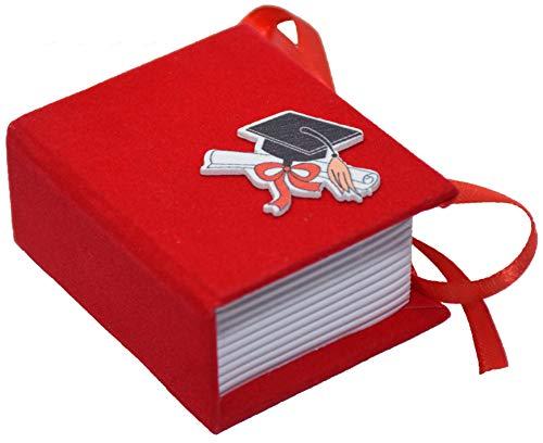 24 pezzi Bomboniera Scatola Libro in cartoncino vellutato, cm 6,8X5,8x3,2 LAUREA Portaconfetti 7311