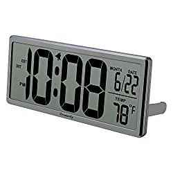 DreamSky Extra Large Digital Wall Clock, Desk Clock, Auto Time Self Setting Alarm Clock, Auto DST Time Changing, Jumbo Number Clock Date Temperature Display, Battery Operated.