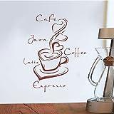 Pegatina taza de café vinilo pared calcomanía decoración de la pared arte de la pared café cocina decoración del hogar calcomanía de pared para el hogar A3 55x68 cm