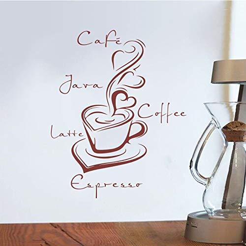 Etiqueta engomada de la taza de café de vinilo calcomanía de pared decoración de la pared arte de la pared café cocina decoración del hogar calcomanía de pared para el hogar A5 55x68 cm