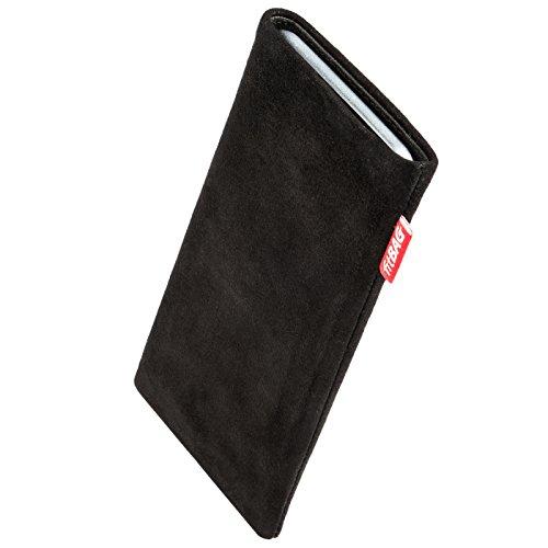 fitBAG Folk Schwarz Handytasche Tasche aus feinem Wildleder Echtleder mit Microfaserinnenfutter für Bea-fon Beafon SL240 | Hülle mit Reinigungsfunktion | Made in Germany