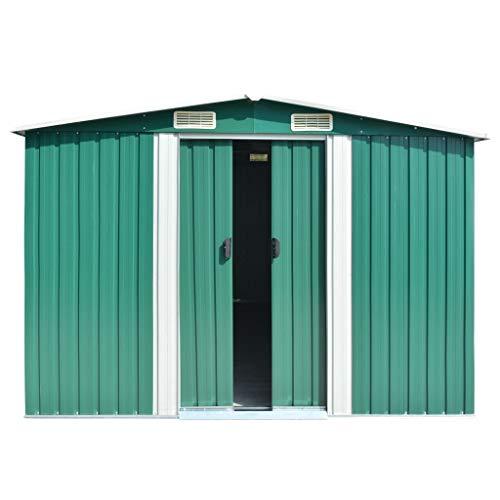 Qnotici Casetta da Giardino in Metallo zincato, Pratica casetta da Giardino in Stile Moderno 257 x 398 x 178 cm-Verde con 4 Fori di Ventilazione