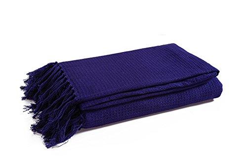 Manta tejida de algodón 100%, sofá / silla / cama doble extragrande de 3 plazas 90 'x 100' Diseño tipo gofre - Azul marino de Elite Home Collection