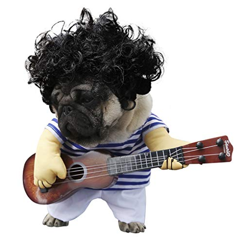 HAMISS Grappige Huisdier Gitaar Speler Cosplay Hond Kostuum Gitarist Dressing Up Party Halloween Nieuwjaar Kleding voor Kleine Franse Hond Katten 3 (Gitaar + Kleding)