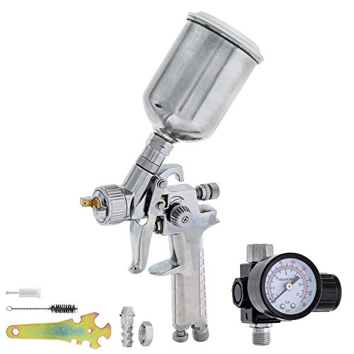 TCP Global Mini Automotive Paint Touch-Up HVLP Spray Gun with 1.2mm Fluid Tip and Regulator