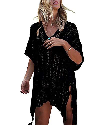 ShinyStar Damen Strandponcho Sommer Gestrickte Strandkleid Bikini Cover Up Boho Sommerkleid Schwarz Einheitsgröße