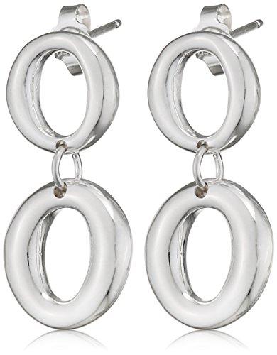 Elements Silver - Orecchini pendenti da donna a doppio cerchio