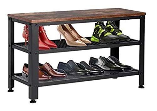 SHBV Zapatero de 3 Niveles Organizador de Almacenamiento de Banco de Zapatos Industrial con Asiento y estantes de Malla para Entrada Sala de Estar Pasillo Muebles de Acento Industrial (Color: