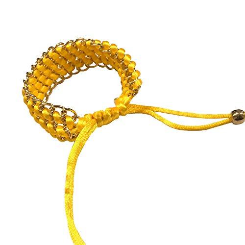 BVCX - Reloj de pulsera de cuerda trenzada de varios colores, 42 mm/46 mm/activo/correa de muñeca con correa de malla de metal (color de la correa: amarillo)