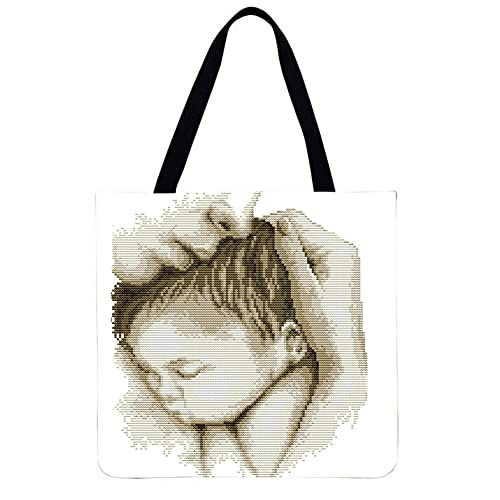LI Q P R Holding bebé impreso hombro bolsa de compras casual señoras gran capacidad Tote bolsos