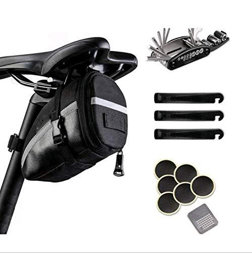 Queta Fahrrad Satteltasche mit 16 in 1 Werkzeuge Werkzeugreifenhebel klebefreie Reifenreparatur Kombination Werkzeugsatz,(Mehrwegverpackung)
