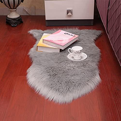 Mjuk lyxig fluffig matta, gråmattor av fuskfårspäls, Shaggy soffklädsel, plyschkudde pälsdyna för sovrumsbäddsoffa Vardagsrumslöpare,1P60*90