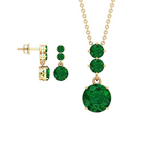 4.62 CT creado en laboratorio esmeralda pendientes y collar, colgante de oro, collar y pendiente, tres collares de gota de piedra, 10K Oro amarillo Con cadena