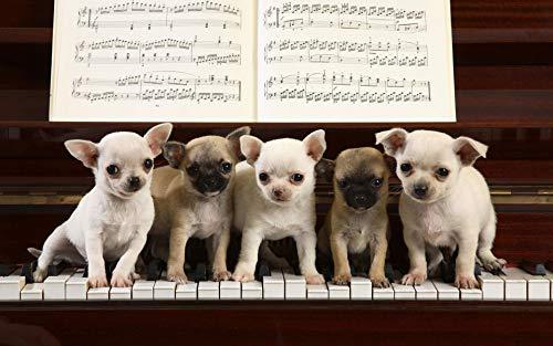 LIZELUO Kinder Holz DIY Puzzle 1000 Stücke Fünf Hunde Spielen Klavier Creative Kreuzworträtsel Spiel Modern Zuhause Dekoration Einzigartiges Geschenk