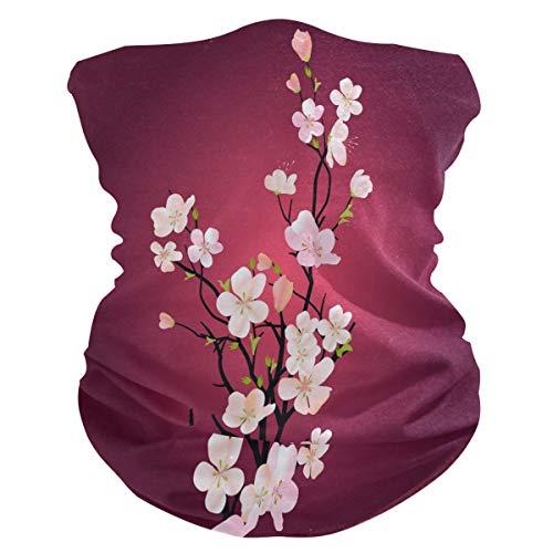 Funnyy - Pasamontañas para el cuello, diseño de ramas de flores japonesas, pañuelo para el cuello, pasamontañas, sin costuras, mágico, pañuelo para la cabeza, multifuncional, diadema para deportes al aire libre