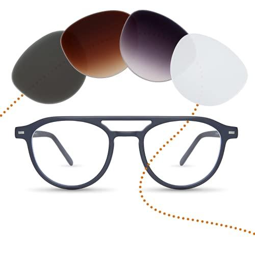 Sym Runde Brille mit Sehstärke von -4,00 bis +4,00 mit auswechselbaren Gläsern in 6 Farben für Kurzsichtigkeit und Weitsichtigkeit - Damen - Kiez Kollektion Modell Stephan blau schwarz