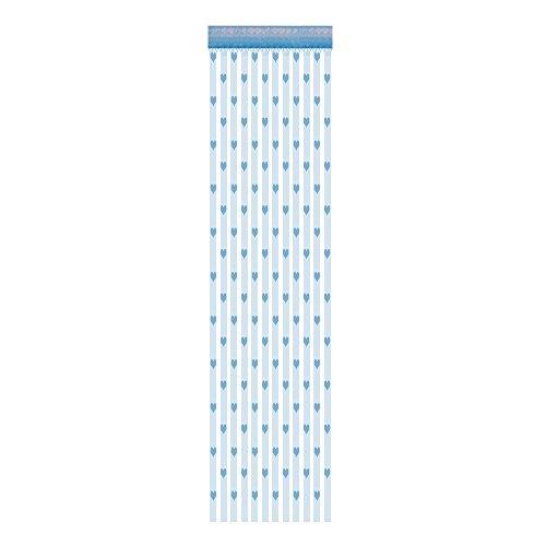 Janly Clearance Sale Cortina de 50 x 200 cm, diseño de corazón con texto en inglés 'Love Heart' para ventana y puerta, cortina transparente para el día de Pascua (azul)